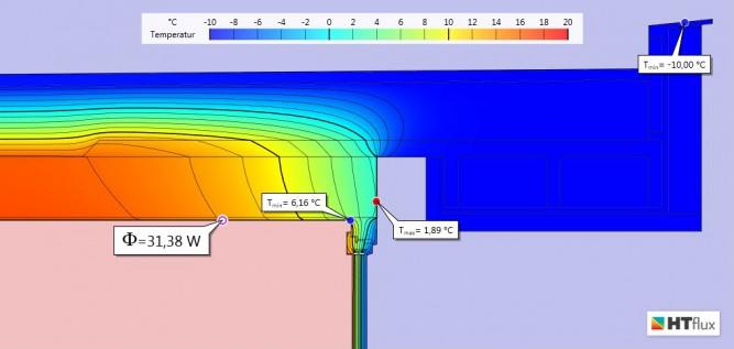 Wärmebrücke-Simulation-Ex1-Temperatur