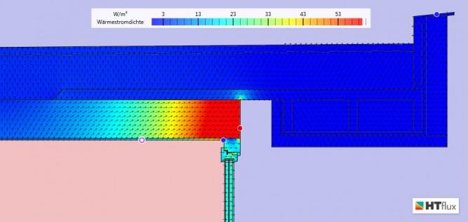 Simulation Wärmebrücke Wärmestrom