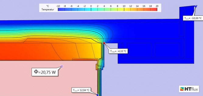 Simulation Wärmebrücke Alternative I  - Temperaturansicht