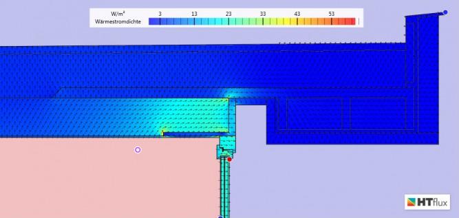 Simulation Wärmebrücke Alternative II  - Wärmestromansicht