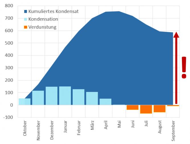 Flankendiffusion - kumuliertes Kondensat - Jahreschart - Feuchteanreicherung