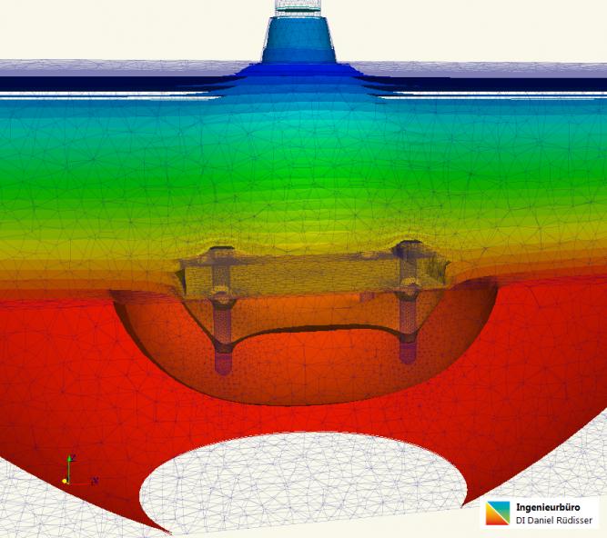 Thermische Simulation Verankerung Isoflächen