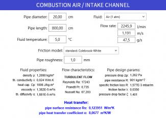 Fluiddynamische Berechnung, Rohrströmung Zuluft, Verbrennungsluft