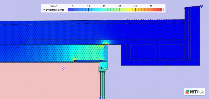 Thermal bridge simulation - fixed 1 - heat flux