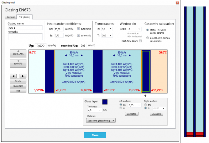 Insulated glazing calculation software